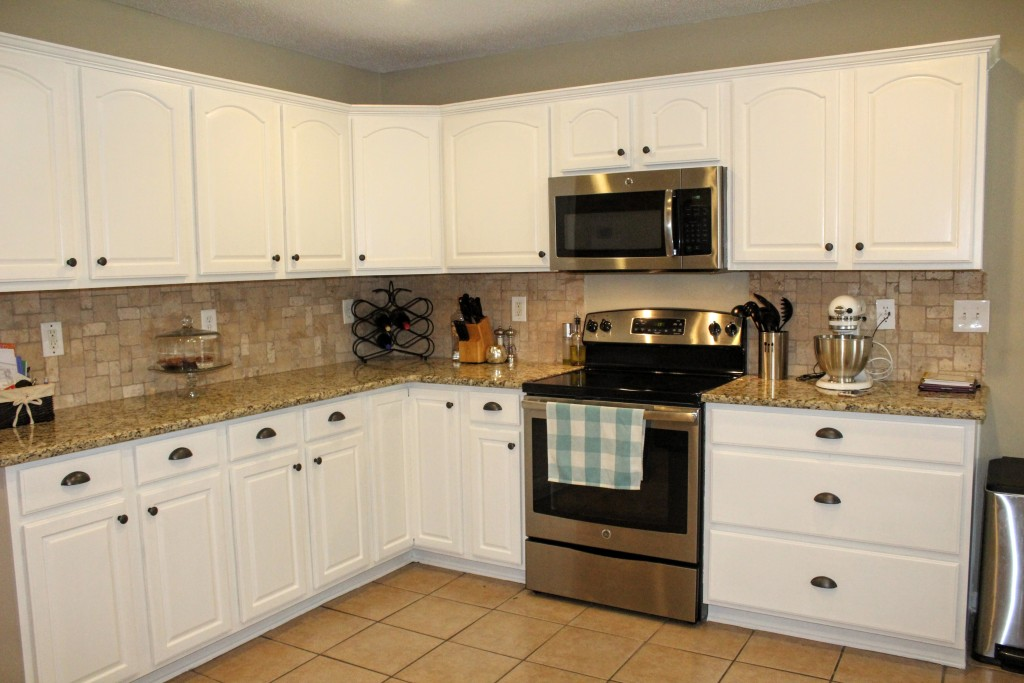 white kitchen cabinet refresh on a budget