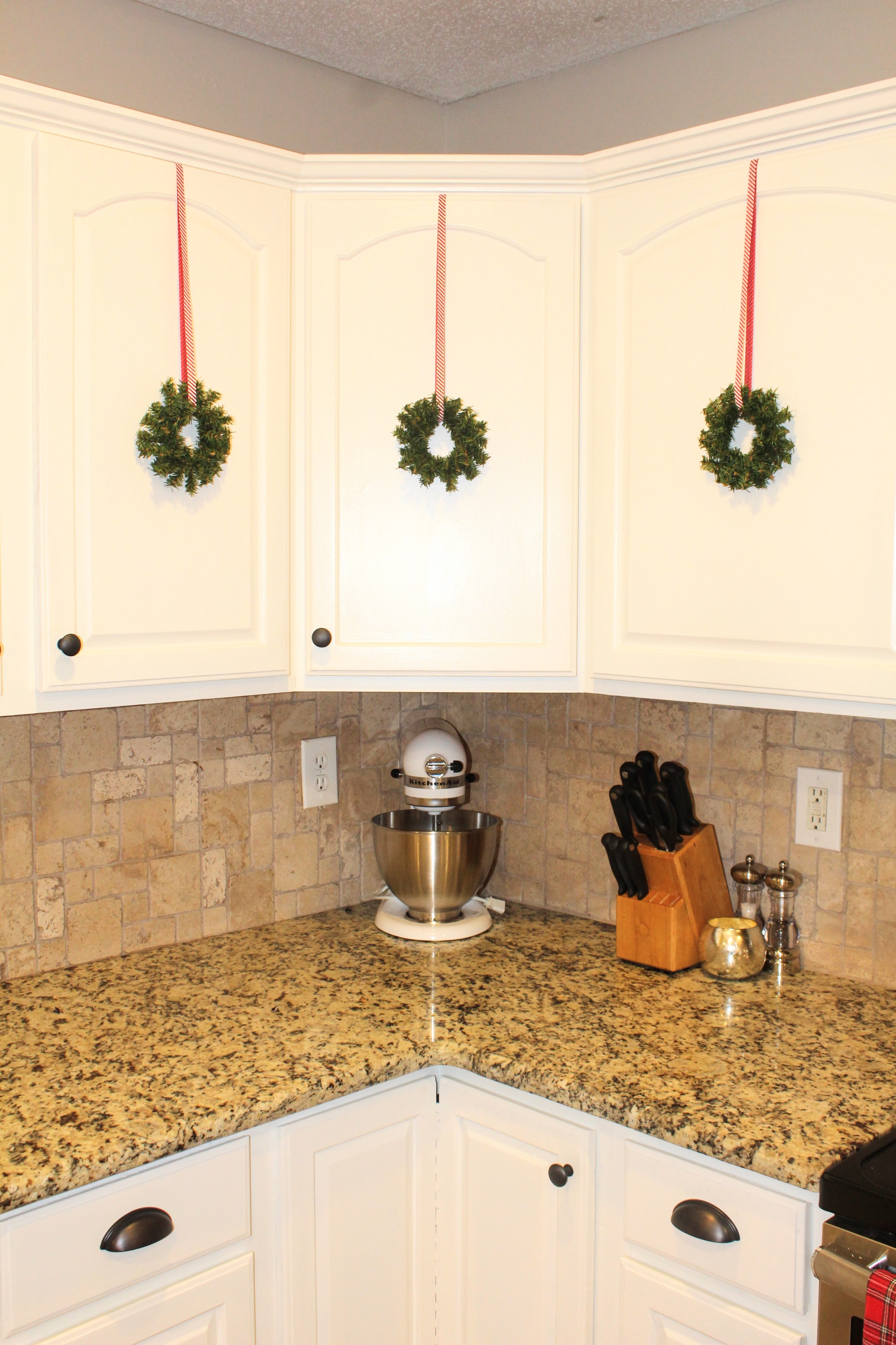 Festive Holiday Kitchen Cabinet Wreaths Diy Project