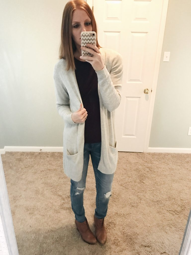 BlankNYC Jeans and Old Navy Cardigan