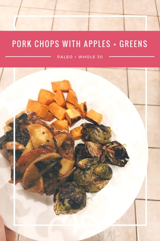 Healthy Pork Chops with Apples and Greens