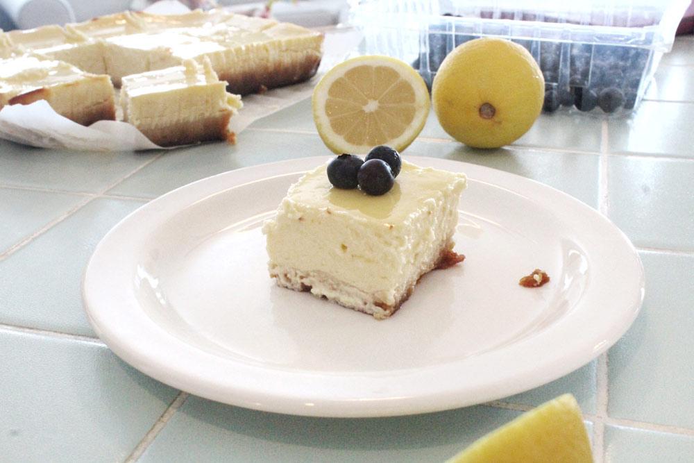 Healthy Cheesecake Bars with Oikos Greek Yogurt
