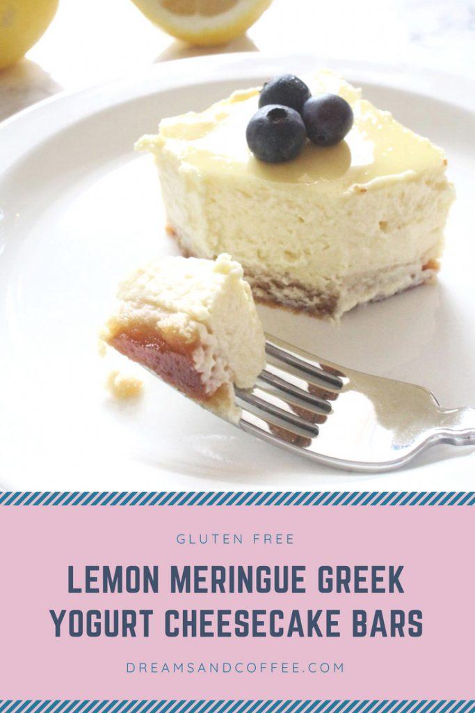Lemon Meringue Greek Yogurt Healthy Cheesecake Bars