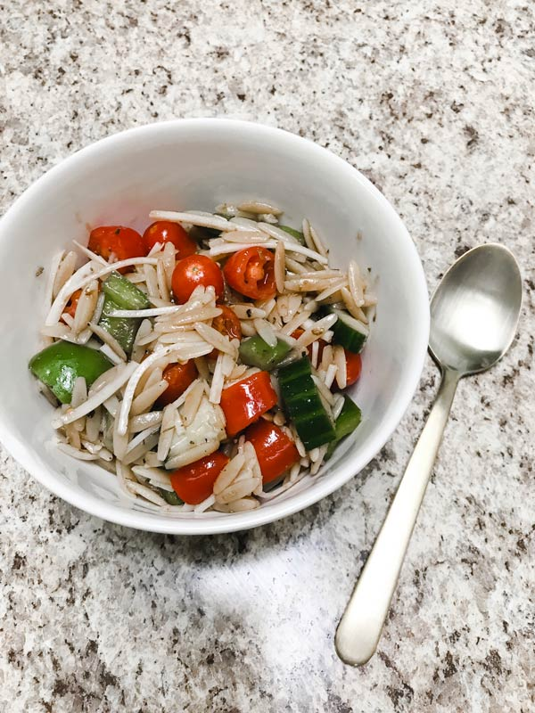 Vegetable and Orzo Pasta Salad with Balsamic Dressing