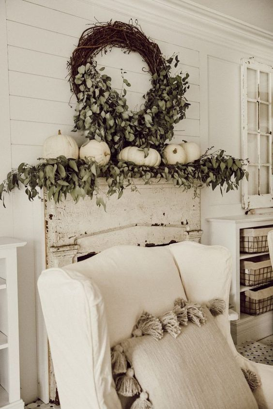 Neutral Fall Mantel Decor Inspiration